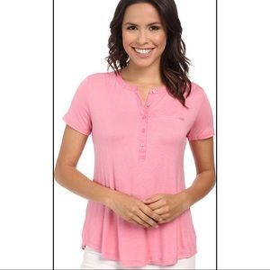 NYDJ Sweet Blossom pink tee with pleat back NWT